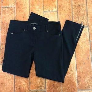 Theory black ankle zipper skinny pants size 6